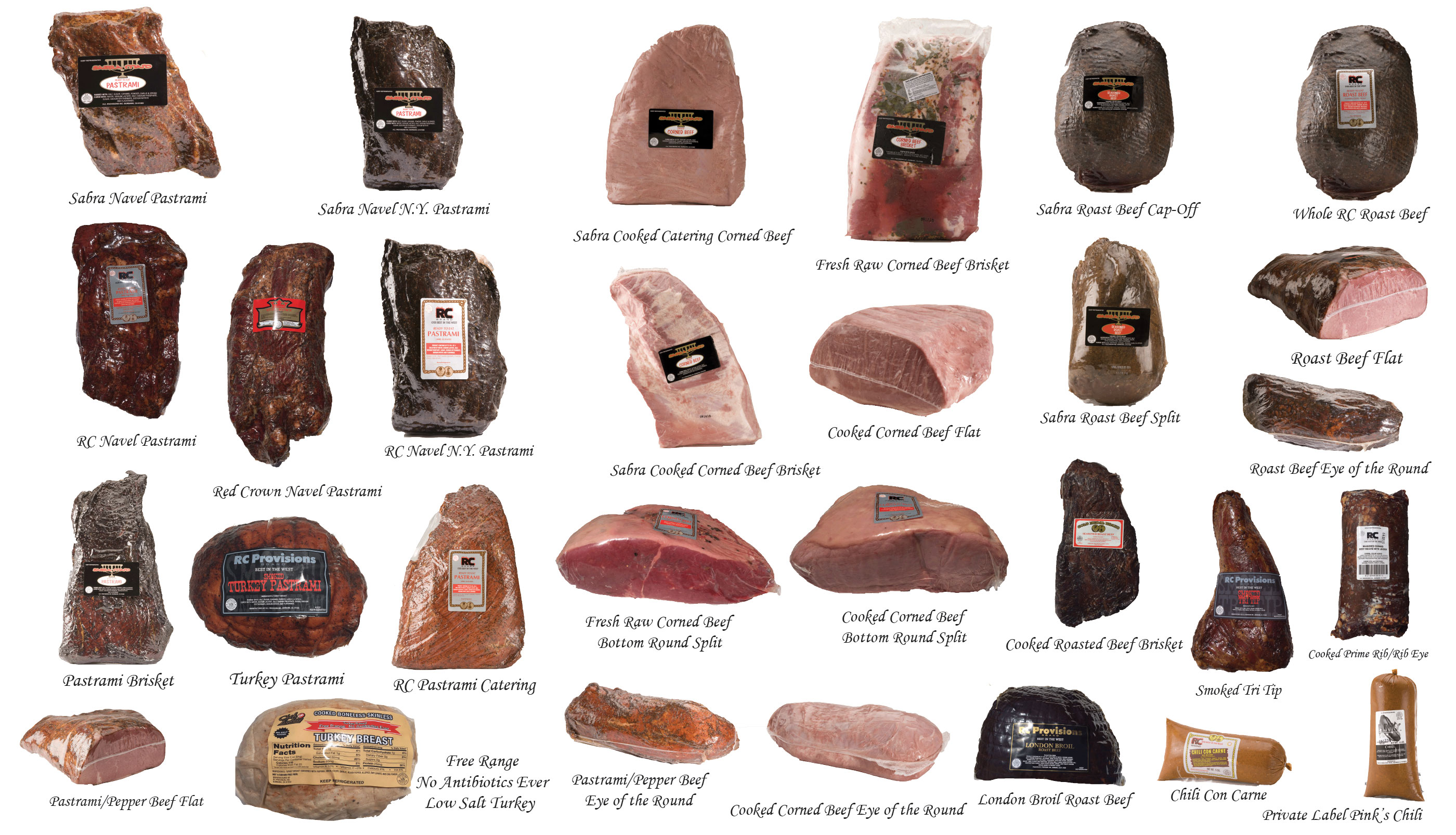 A montage of RC meat products